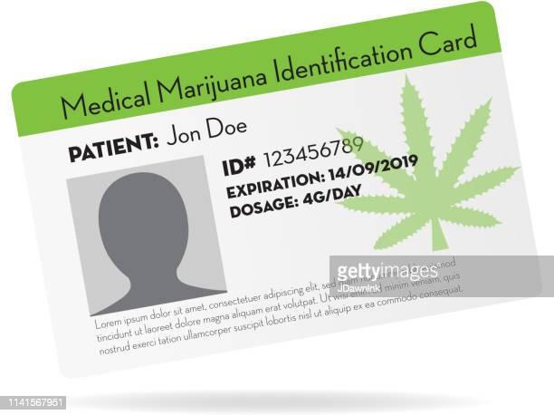 medical marijuana identification card design template - id card template stock illustrations