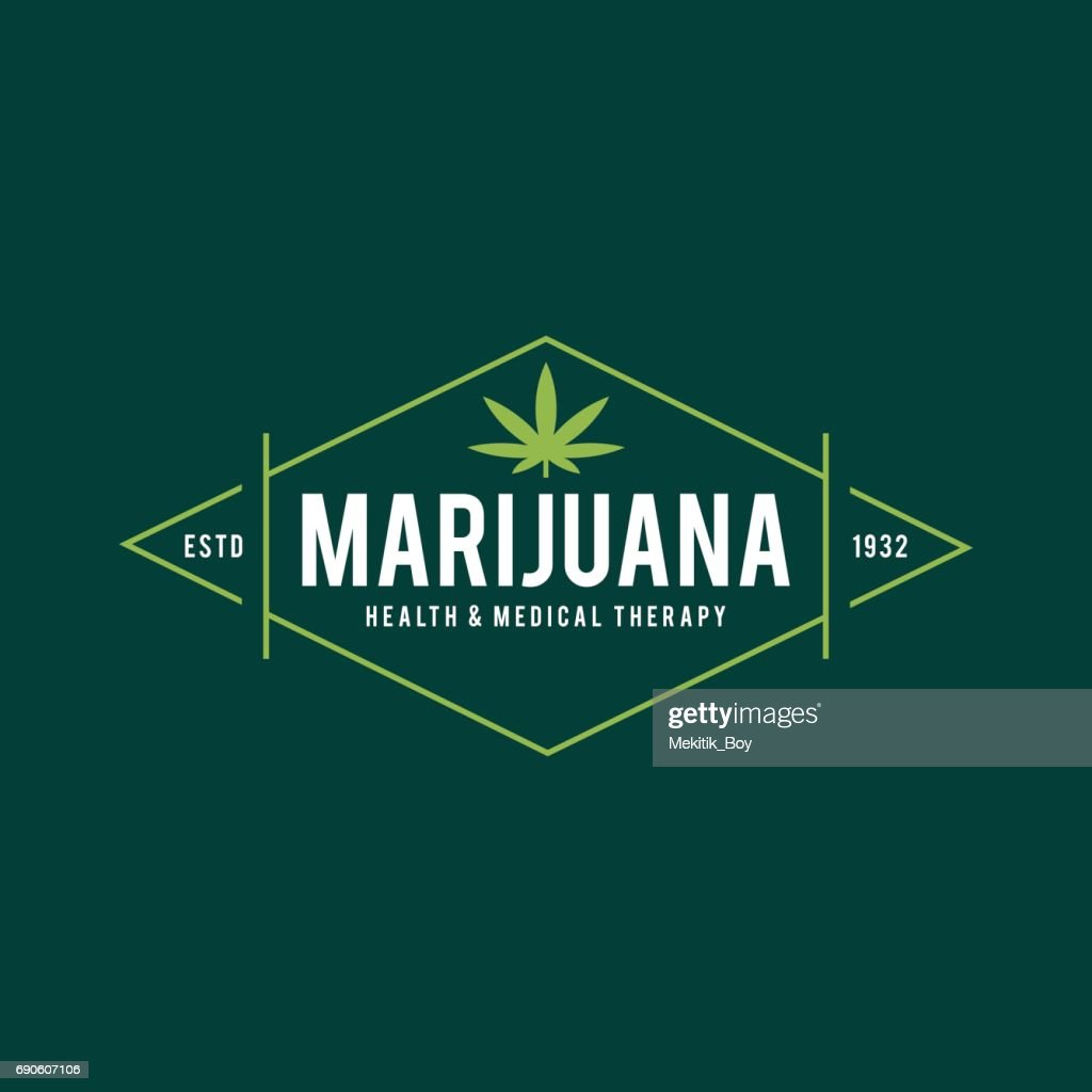 Medical marijuana in retro style, vector illustration