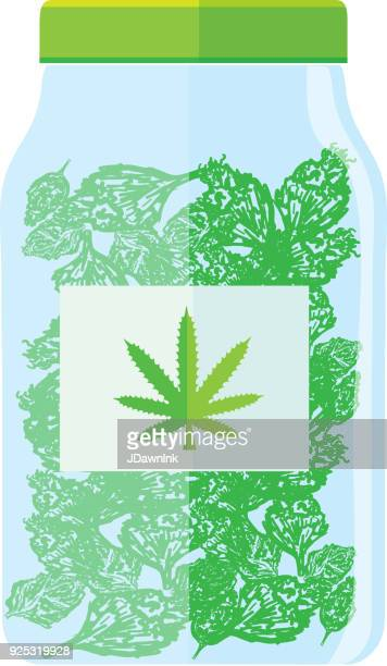 medical marijuana jar icon - cannabis plant stock illustrations, clip art, cartoons, & icons