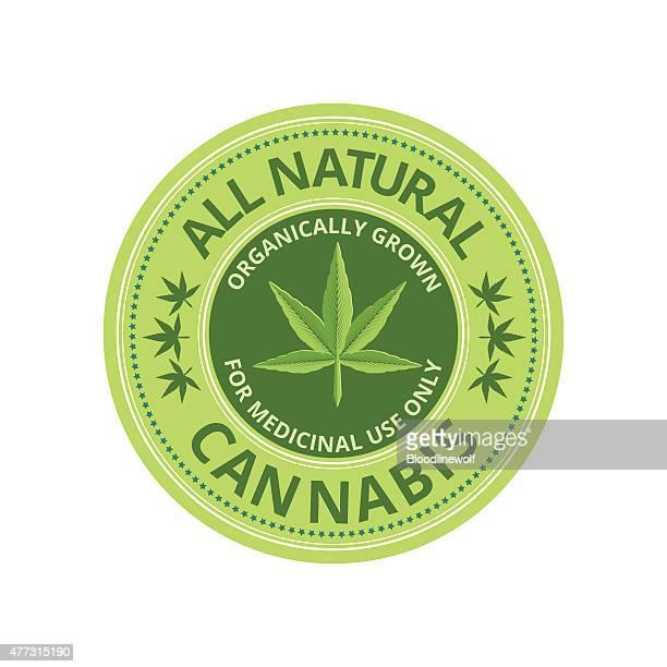 medical marijuana label with leaves - hemp stock illustrations, clip art, cartoons, & icons