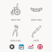 Medical mask, pipette and dental pliers icons.