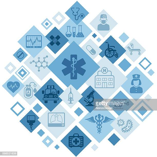 medical montage - medical symbol stock illustrations, clip art, cartoons, & icons