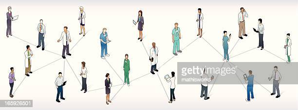 medical network panoramic illustration - operating gown stock illustrations, clip art, cartoons, & icons