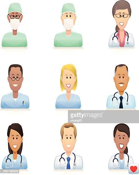 ilustraciones, imágenes clip art, dibujos animados e iconos de stock de medical iconos de personas - enfermera
