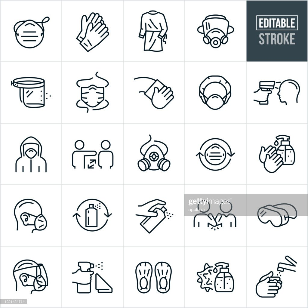 Medical Personal Protective Equipment Thin Line Icons - Editable Stroke : Stock Illustration