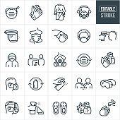 Medical Personal Protective Equipment Thin Line Icons - Editable Stroke