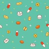Medical pills seamless pattern
