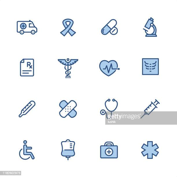 medical - pixel perfect blue outline icons - disabled sign stock illustrations, clip art, cartoons, & icons