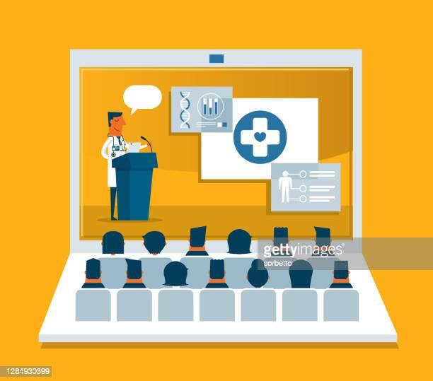 医療専門家が治療についてスピーチをする - ラップトップ - 外科医点のイラスト素材/クリップアート素材/マンガ素材/アイコン素材