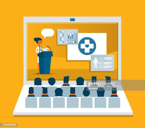 医療専門家のスピーチ - ラップトップ - 発表点のイラスト素材/クリップアート素材/マンガ素材/アイコン素材
