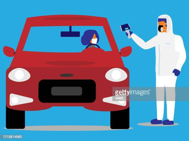 medical professional takes the temperature of a driver at a drive-through testing facility. - drive through stock illustrations