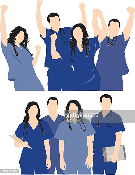 medical professionals team - scrubs stock illustrations