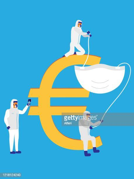 medical professionals work together to fit a protective mask over the euro symbol. - recession stock illustrations