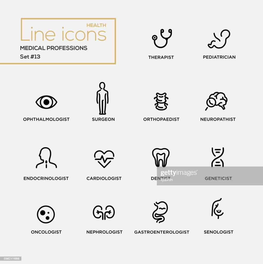 Medical Professions - line design pictograms set