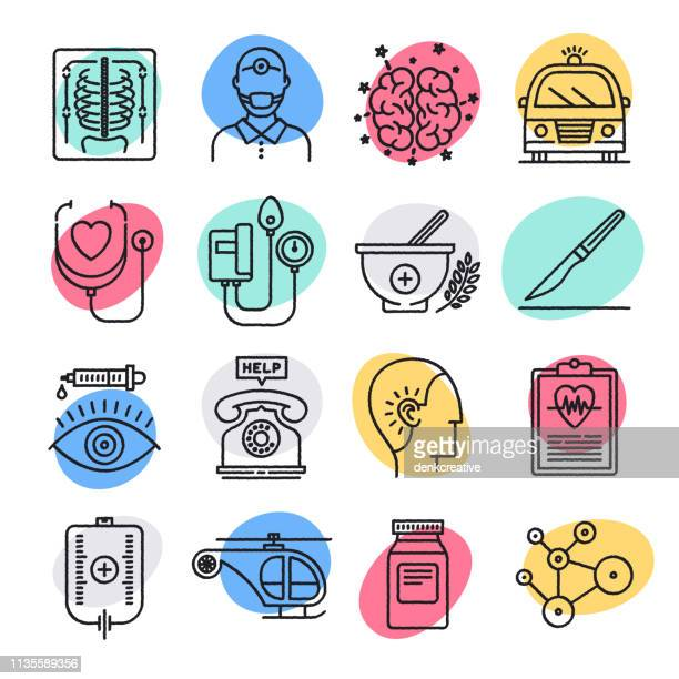 medical recommendations & guidelines doodle style vector icon set - dieting stock illustrations, clip art, cartoons, & icons