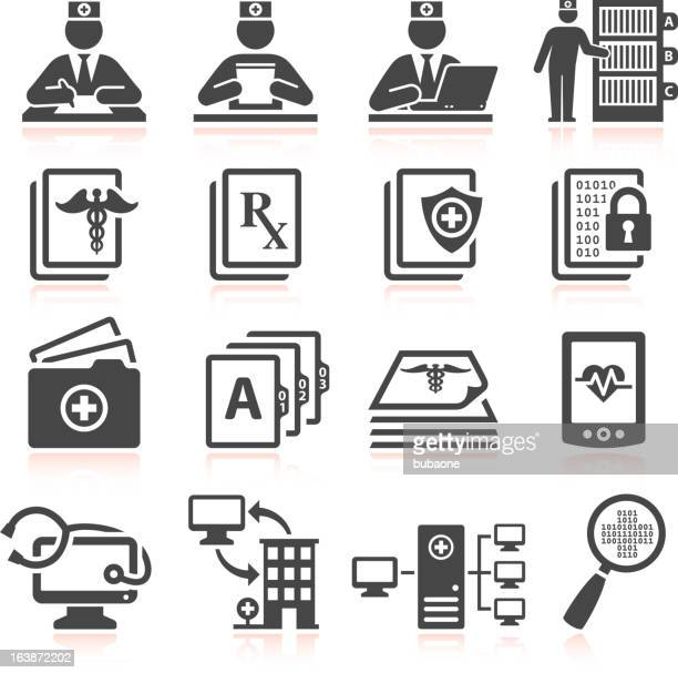 medical records black & white royalty free vector icon set - files stock illustrations, clip art, cartoons, & icons