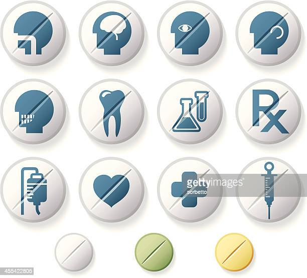 medical related icon set - neurosurgery stock illustrations, clip art, cartoons, & icons
