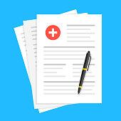 Medical report, medical document, health insurance concepts. Flat design. Vector illustration
