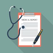 Medical report with stethoscope and pen