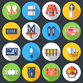 medical rescue uniform and set first aid help equipment and instruments icons. On flat style background concept. Vector illustration for colorful template for you design, web and mobile applications