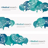 Medical Research Banners And Icon Set