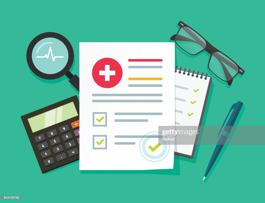 Medical research report vector illustration, flat cartoon health or medical record paper document with patient data and information on table, concept of medicine check list, approved good test analyze