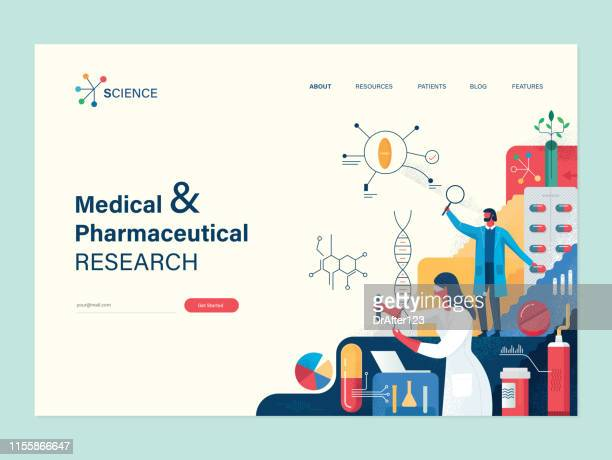 medical research web template - herbal medicine stock illustrations