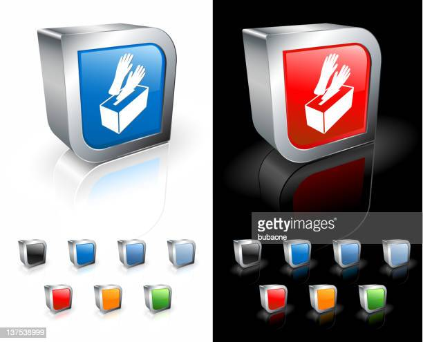 medical rubber gloves in a box 3d vector icon - washing up glove stock illustrations, clip art, cartoons, & icons