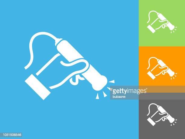 青の背景に医療スキャン フラット アイコン - 超音波検査点のイラスト素材/クリップアート素材/マンガ素材/アイコン素材