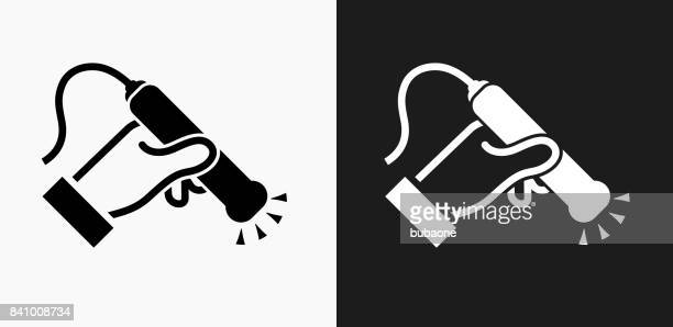 medical scan icon on black and white vector backgrounds - x ray equipment stock illustrations, clip art, cartoons, & icons
