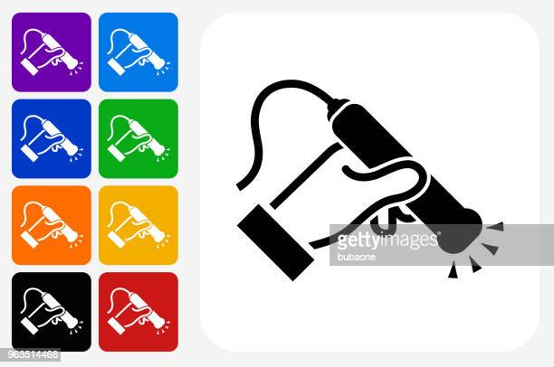 medical scan icon square button set - x ray equipment stock illustrations, clip art, cartoons, & icons