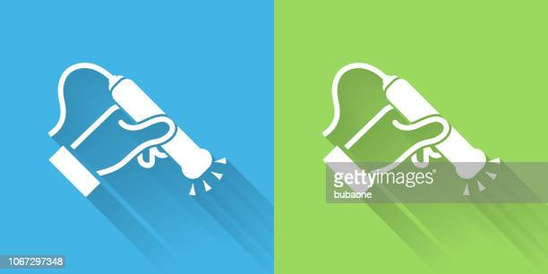 medical scan icon with long shadow - x ray equipment stock illustrations, clip art, cartoons, & icons
