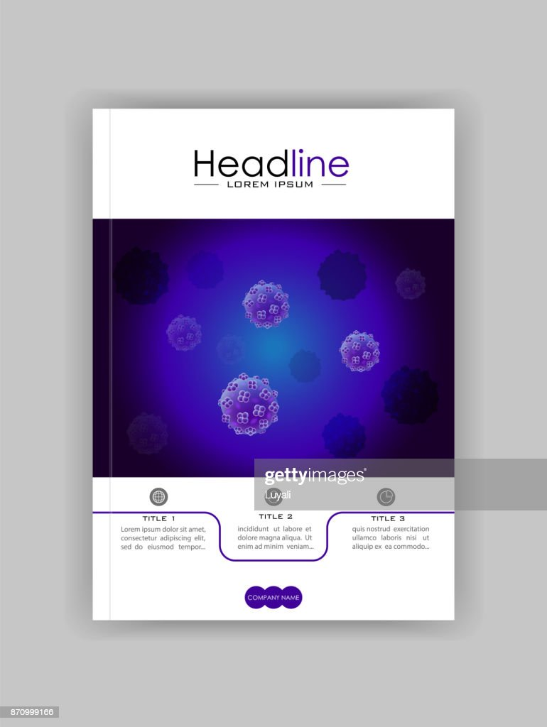A4 Medical, scientific, academic journal cover design with bacteria, virus luminescence.