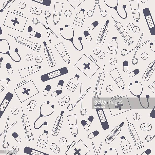 medical seamless background - surgical equipment stock illustrations