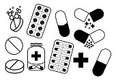 Medical signs (tablets, pills)