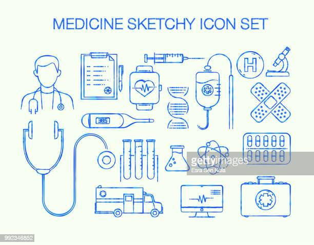 medical sketchy line icon set - cardiologist stock illustrations