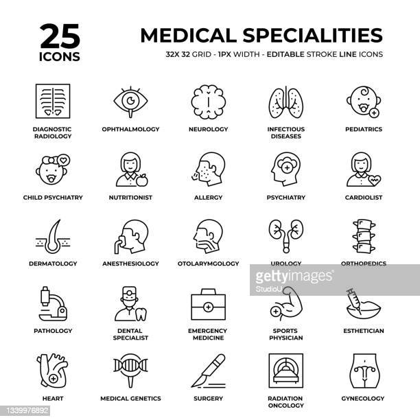medical specialities line icon set - oncology stock illustrations