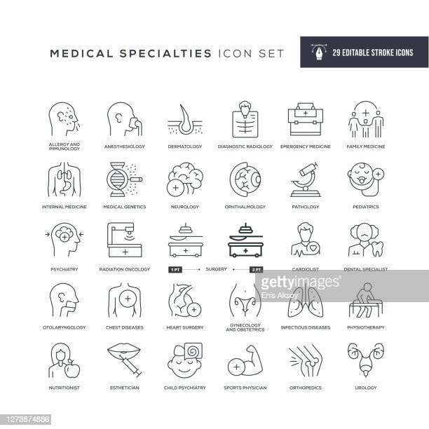medical specialties and organs editable stroke icons - health care professional stock illustrations