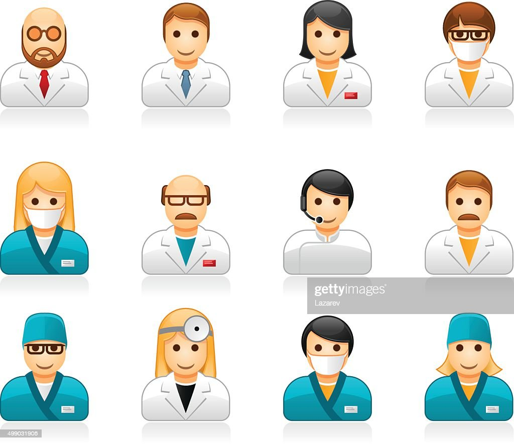 Medical staff avatars - user icons of doctors and nurses