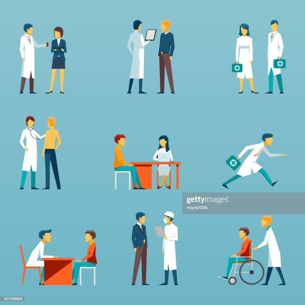 Medical staff flat vector icons. Health care set