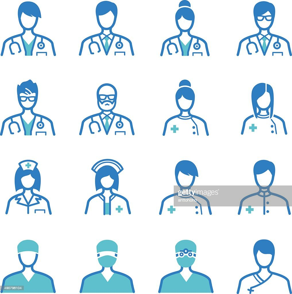 Medical staff icons set