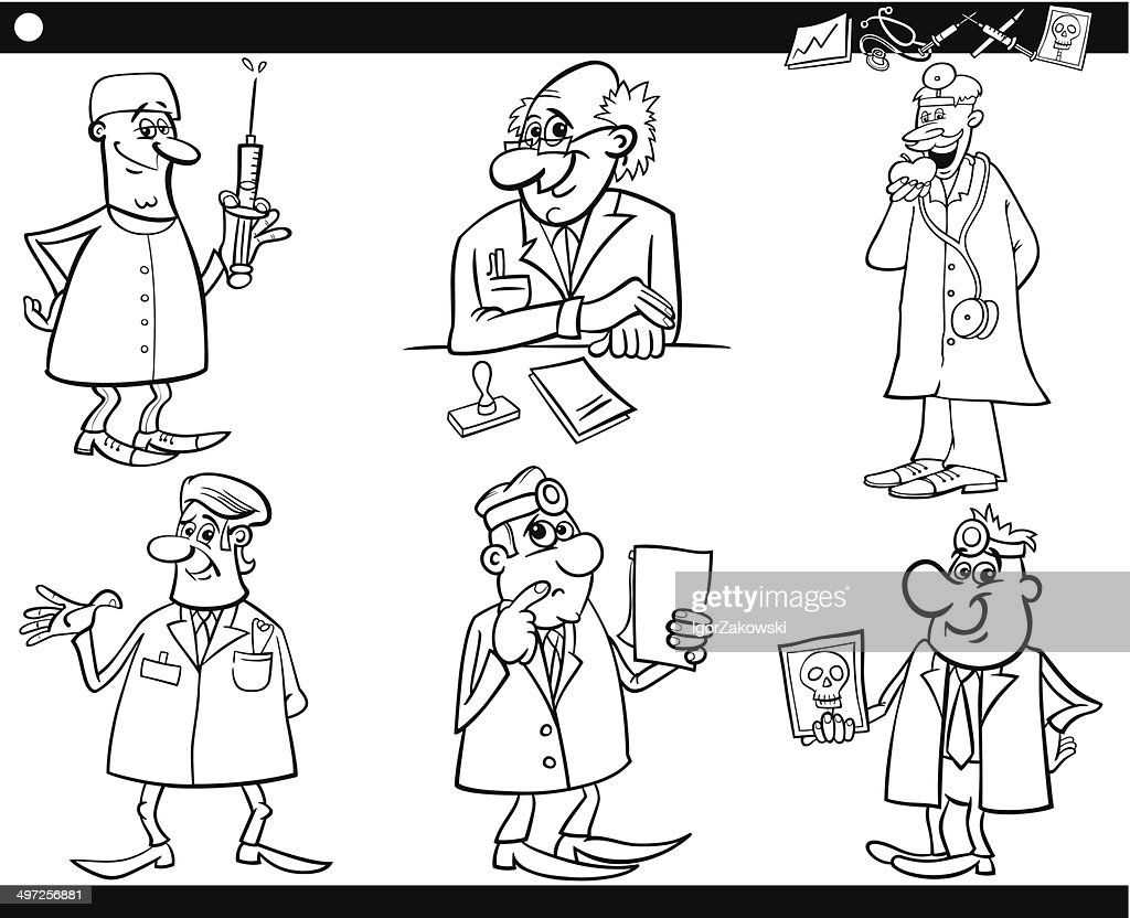 Medical Staff Set Coloring Book Vector Art Getty Images