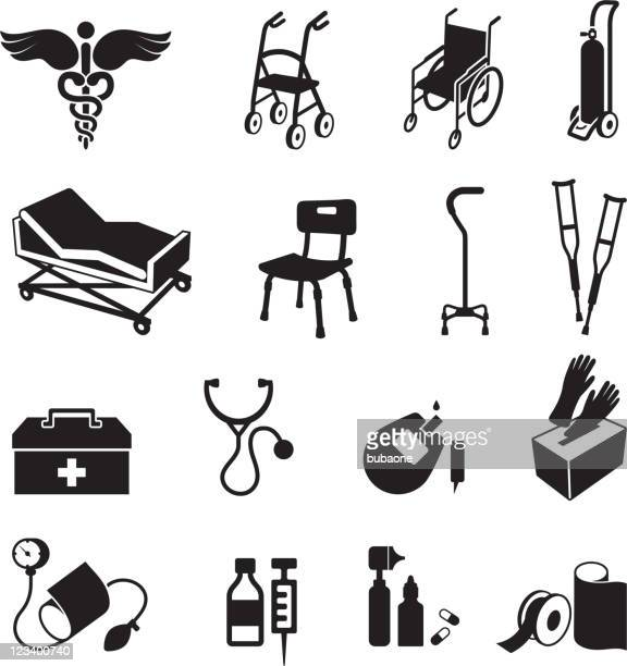 medical supplies black & white royalty free vector icon set