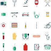 Medical Supplies Flat Design Icon Set
