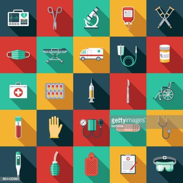 medizinische versorgung-flaches design-icon-set mit seite schatten - mundschutz stock-grafiken, -clipart, -cartoons und -symbole