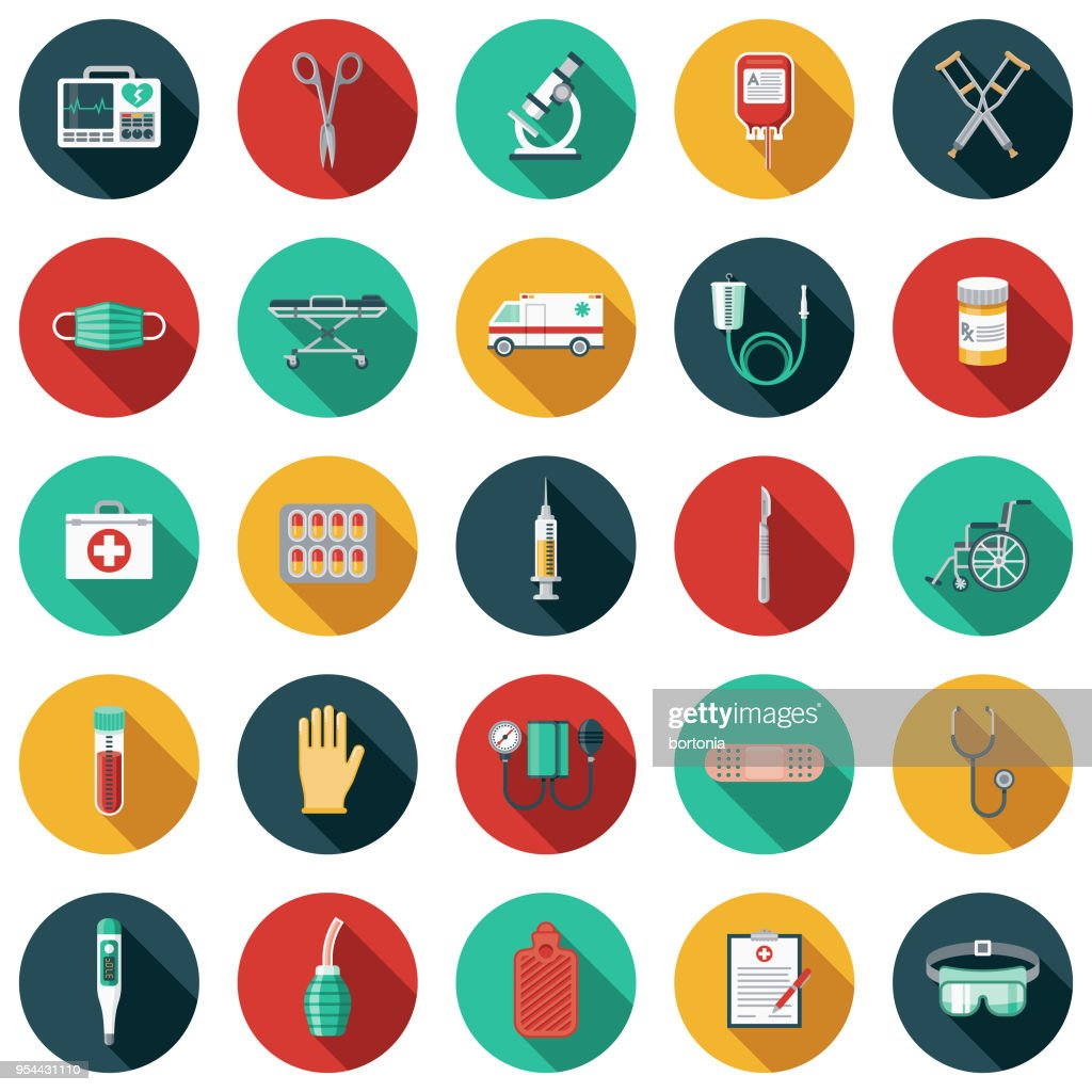 Medical Supplies Flat Design Icon Set with Side Shadow : stock illustration
