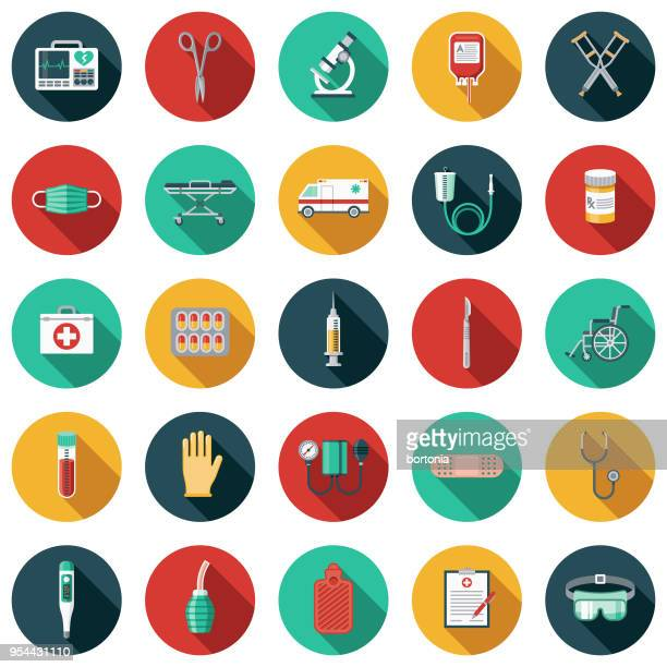 medical supplies flat design icon set with side shadow - medical exam stock illustrations