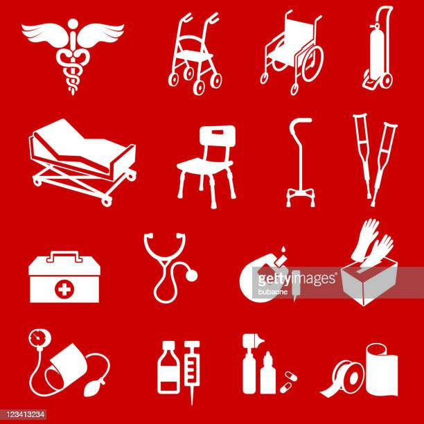 Material médico vermelho vector conjunto de ícones royalty free