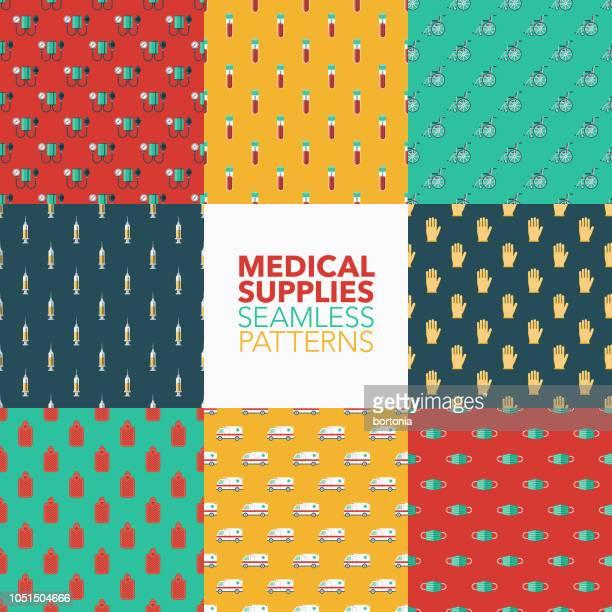 医療用品シームレス パターン ・ セット - 手術用グローブ点のイラスト素材/クリップアート素材/マンガ素材/アイコン素材