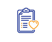 Medical survey line icon. Hospital patient history sign. Vector